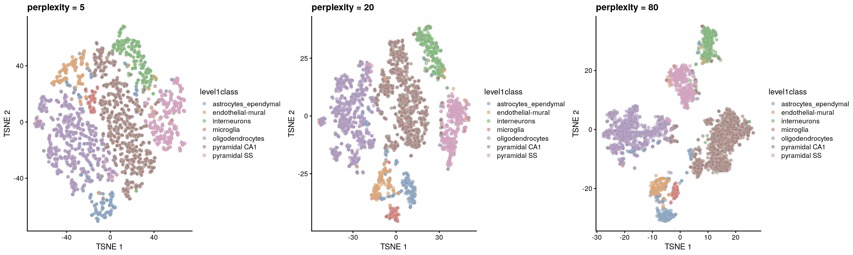 $t$-SNE plots constructed from the top PCs in the Zeisel brain dataset, using a range of perplexity values. Each point represents a cell, coloured according to its annotation.